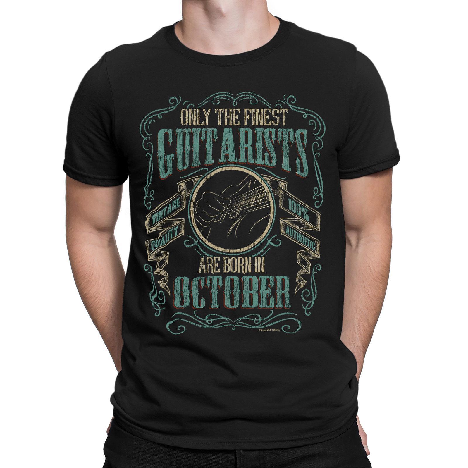 2019 Hot venda moda camiseta Mens GUITAR T-shirt Finest guitarristas Nascido em Natal outubro Música Tee aniversário camisa