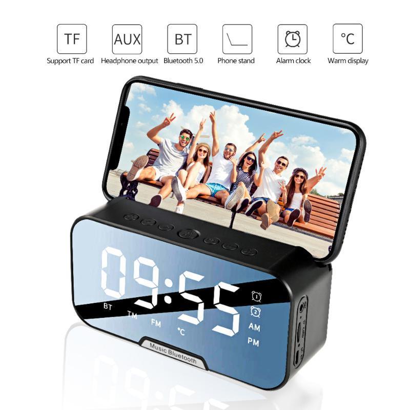 Bewegliche drahtlose Bluetooth 5.0 Lautsprecher-Säule Super Bass Stereo Subwoofer Unterstützungs-TF-AUX Spiegel Wecker FM-Radio-Empfänger