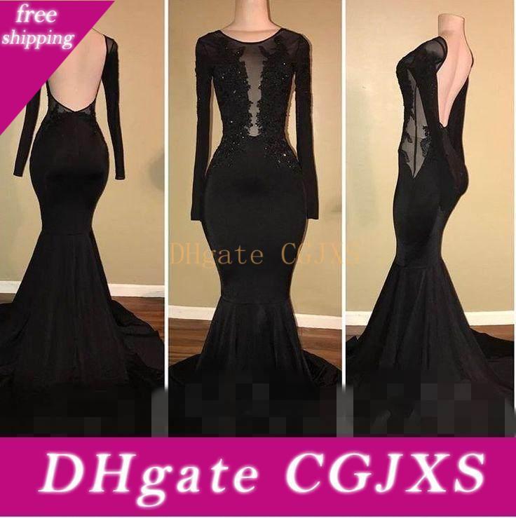 2018 nero gioiello di Charme Prom Dresses spazzata di Applique manica lunga in raso elastico della sirena del treno formale Abiti da sera Prom Gowns