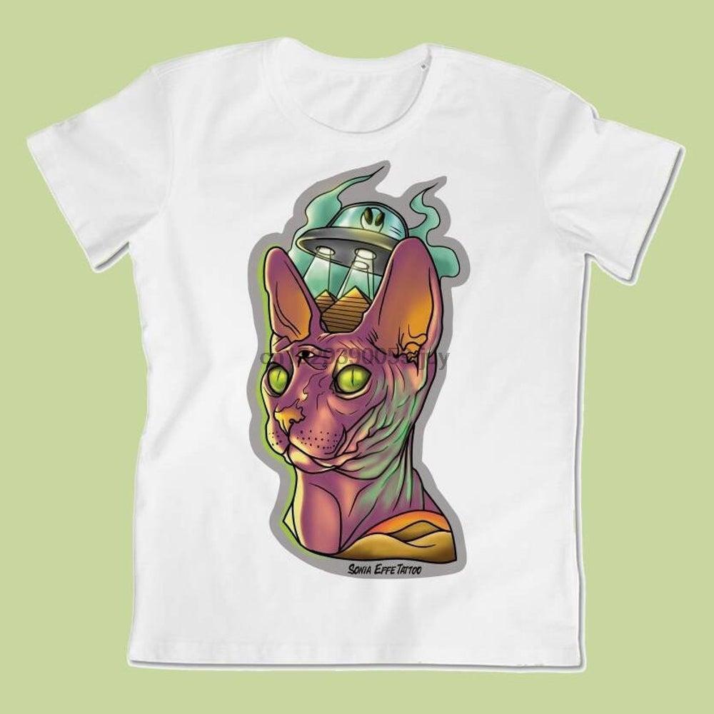 T-Shirt mit Aufdruck Abbildung von Sonia F UFO Sphinx Tattoo Design Männer T-Shirt aus 100% Baumwolle