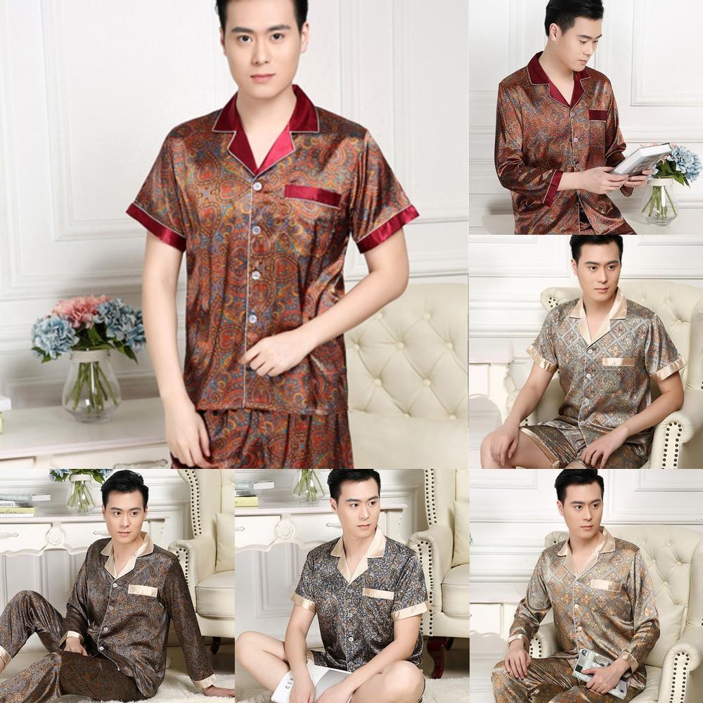 kDoyZ printemps et en automne vêtements Accueil soie été hommes pyjamas simulation pyjama court mince taille plus hommes manches costume simulé soie Accueil