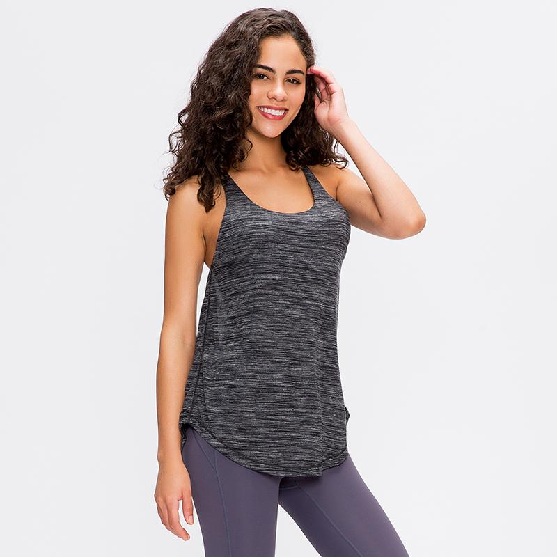 TN-O 2020 Yoga Veste 2 en 1 FLY Croisillon Yoga Gym Débardeurs + Inside Bra Loose Women Fit Fitness Workout souple Gilet T200628