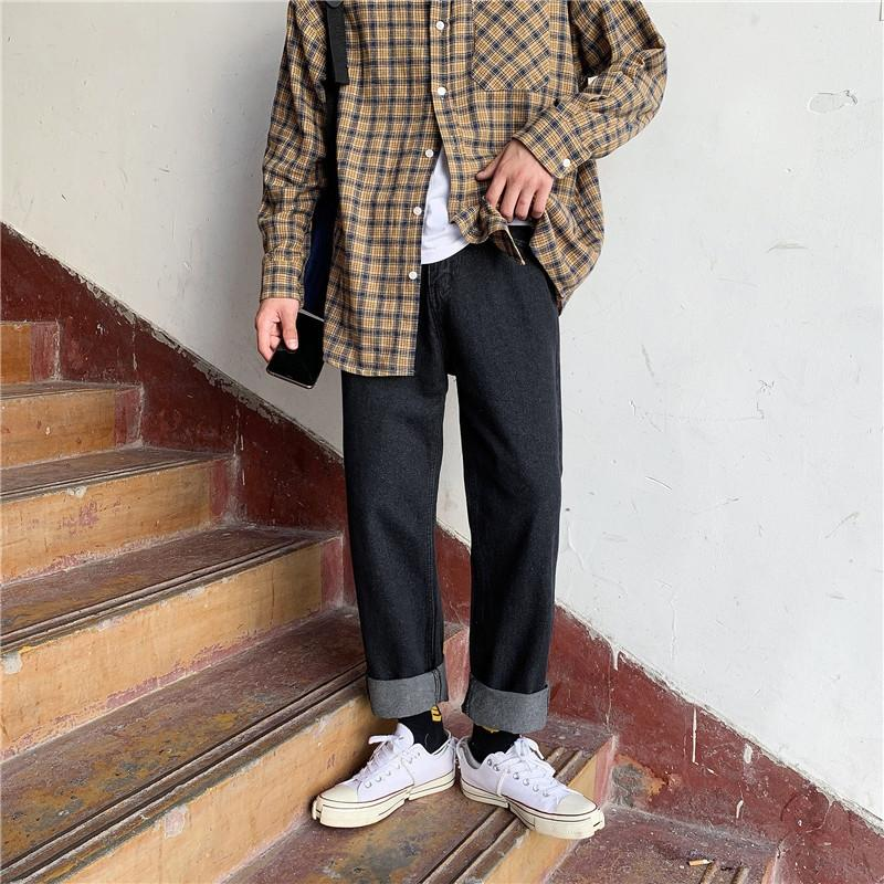 XByW8 automne pantalon à la mode étudiante coréenne sentiment de chute libre droit longueur de la cheville et un jean pantalon jean Pendentif style des hommes ins tous match