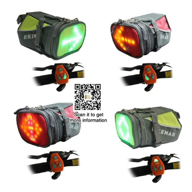 Cauda Mountain Road bicicleta alforjes LED bicicleta luz de advertência do sinal de controle remoto para a noite de equitação