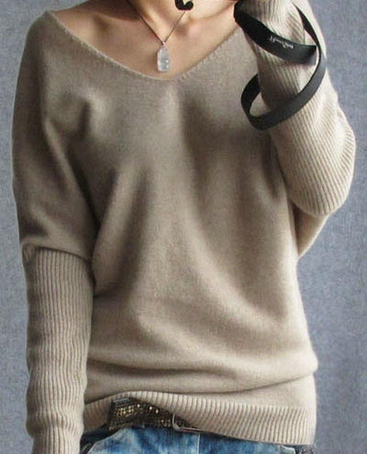 2019 Primavera Outono Cashmere Sweaters Mulheres Moda Sexy V-Neck Sweater soltas 100% Wool Sweater Batwing Sleeve Plus Size pulôver Y2001 k1zP #
