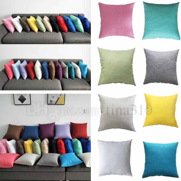 Hot Pillowcase Pure Almofada Cor sarja Praça Car Sofá cintura Capa Invisível Zip fronha Multi Color Opcional Pillow caso 4704
