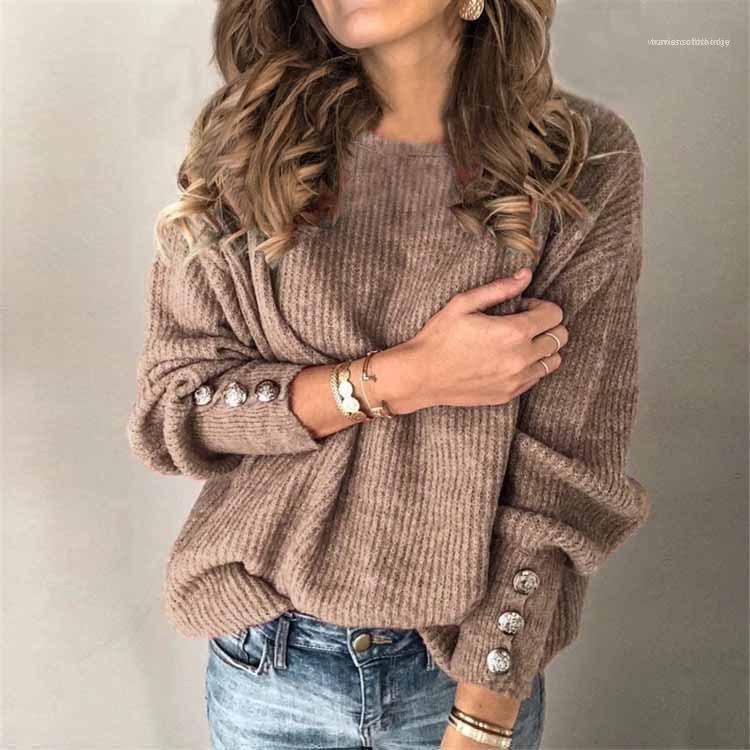 Knopf Langarm-Pullover-Strickjacke beiläufige mit Rundhalsausschnitt in Übergrößen Damen Tops Damen Designer Knits Mode