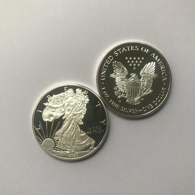 10 шт Немагнитные Statue 2020 1oz посеребренные 40 мм памятной Американская украшения не валюта коллекционных монет