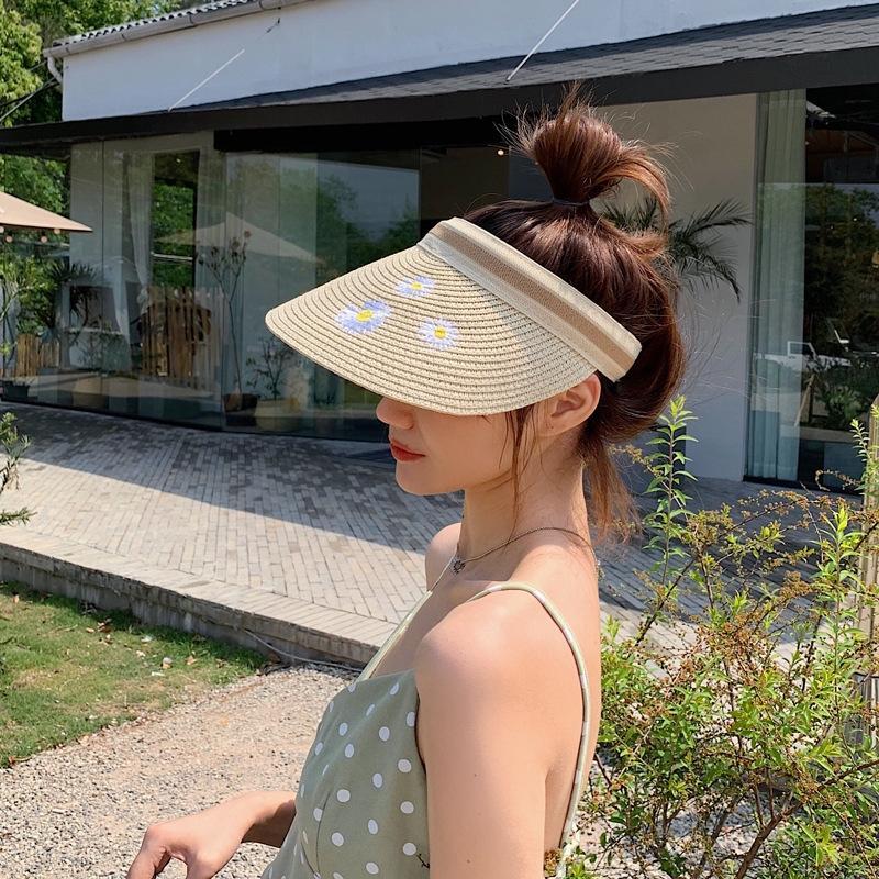 tkWDC femenina bordada de la margarita paja de la playa de Corea bordó el todo-fósforo transpirable temperamento lindo sombrero de paja del todo-fósforo del sombrero del sol del sol femenina