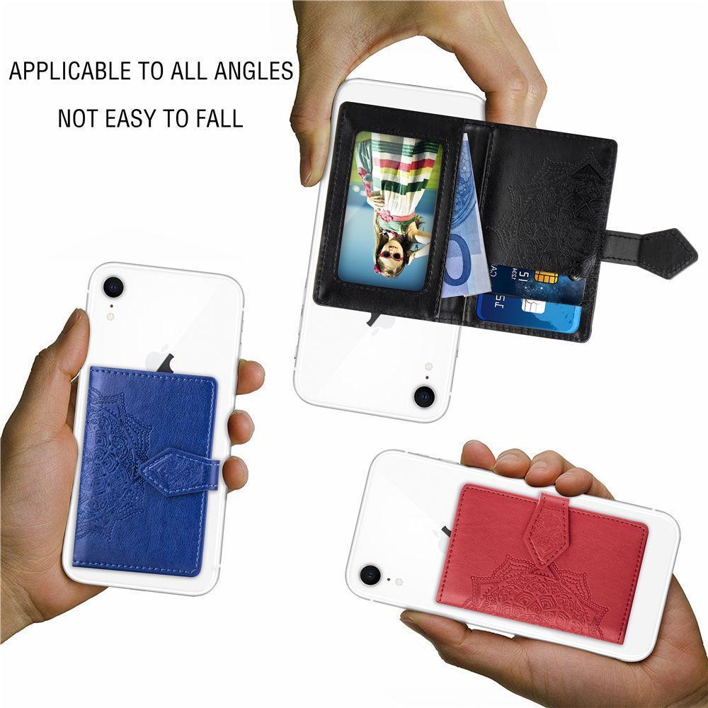 cgjxs Datura 3m Aufkleber Leder Stock auf Wallet Cash Kreditkarte-Halter für Iphone Xs Max Xr X S9 Universal-Rückseiten-Telefon-Karten-Slot-Blume C