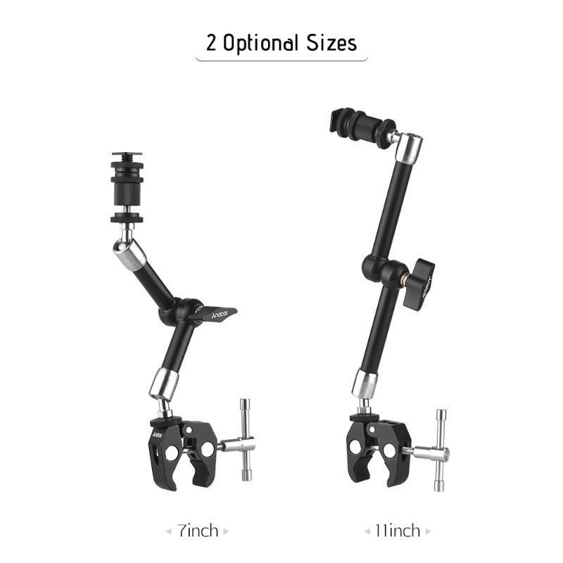 Andoer en acier inoxydable Articulé friction bras w / Pinces réglables Clip pour DSLR Cam Rig / Moniteur / LED / Flash / Microphone