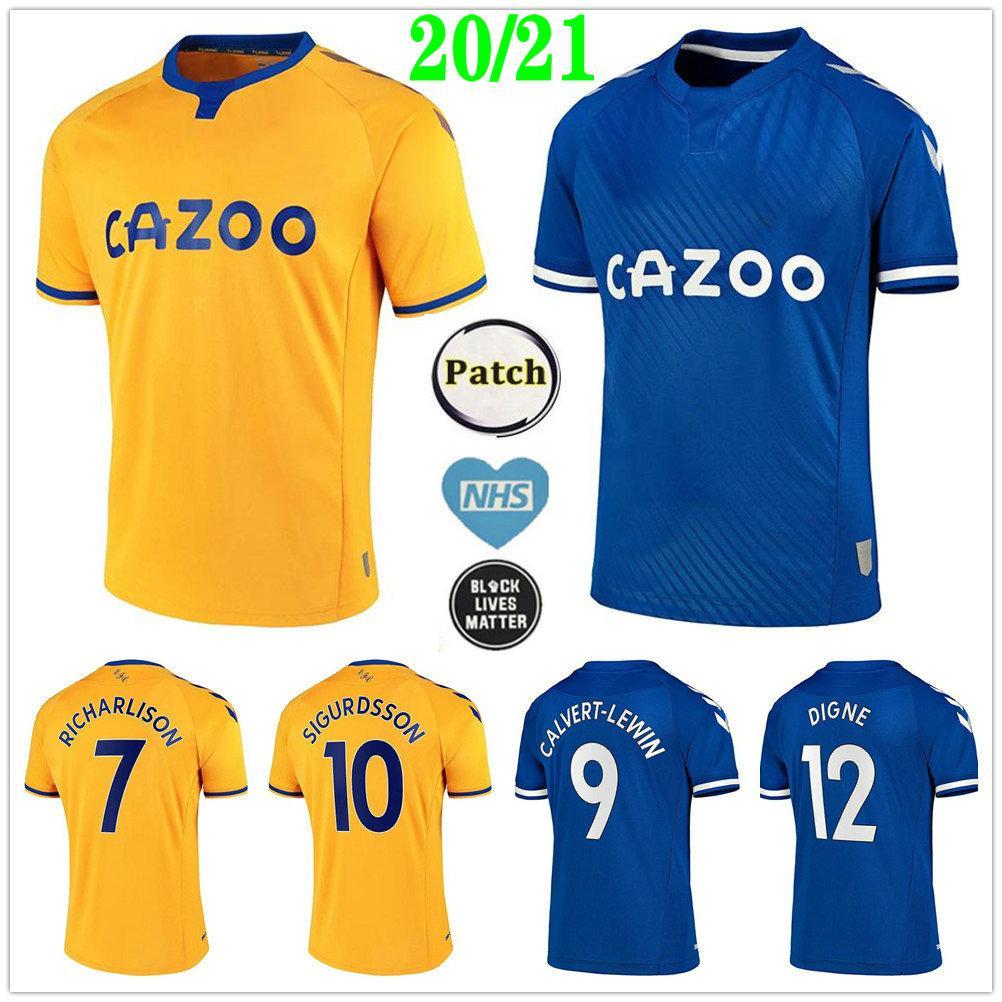 2020 2021 ايفرتون لكرة القدم الفانيلة الكبار سيجوردسون RICHARLISON CALVERT-LEWIN توسون الكوت BERNARD KEAN مخصص للأطفال الرئيسية بعيدا قميص كرة القدم