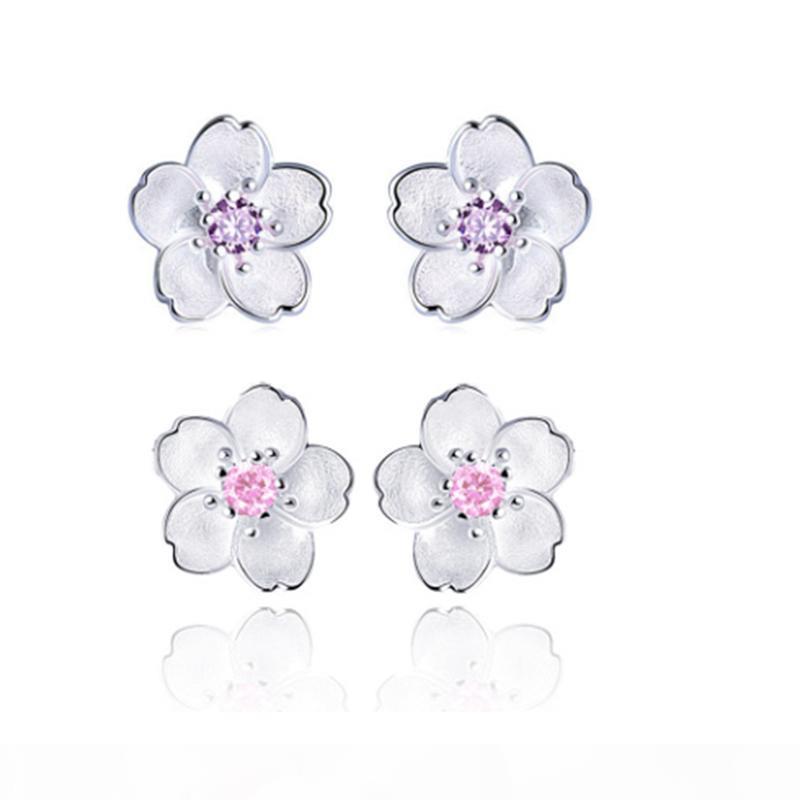 Kadınlar Ücretsiz Kargo Ucuz Mor Pembe Rengi için Romantik Kiraz Çiçek saplama Küpe 925 Gümüş Kaplama Küpe Moda Takı