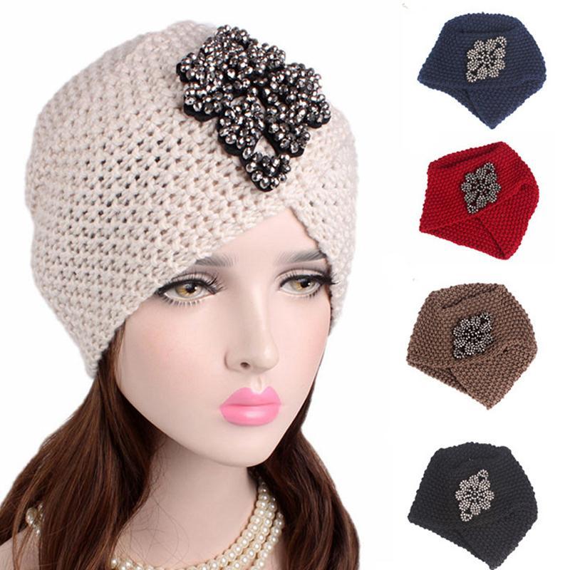 Женщины Мусульманского Тюрбан Hat Крест Rhinestone Warm Wool Knit Beanie Тюрбан Шляпа Женский Химиотерапия Cap Headwrap Ladies Аксессуары для волос