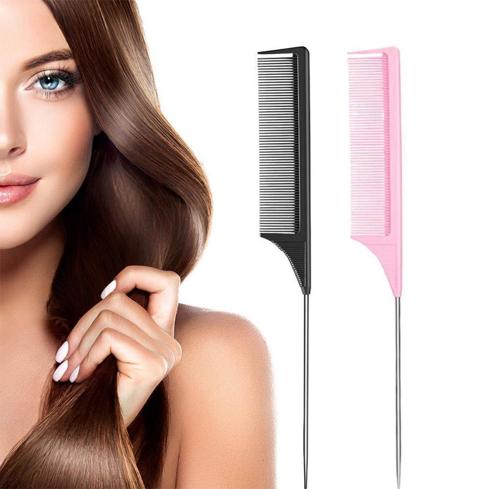 1PC Resalte Herramientas peine del pelo peines de dientes finos de metal de pelo cola de rata de belleza del pelo del peine de peluquería Pin peine F3B0
