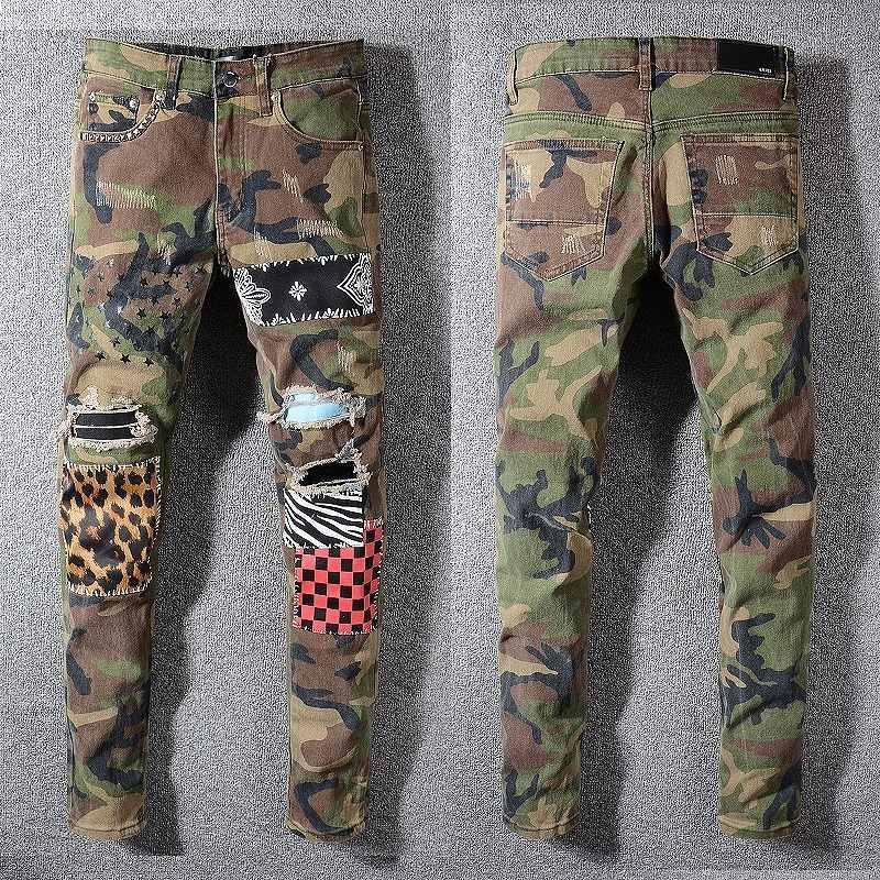 Mens Distressed Strappato Biker Jeans slim fit Motociclista Denim per gli uomini di moda Balma Designer Hip Hop Jeans Uomo di buona qualità BEM13000