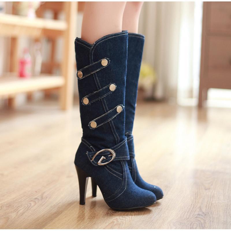 Neuankömmlinge Damenmode Denim Buckle Kniehohe runde Zehe hohe Absätze lang Knopf Ritter Stiefel Frauen Schuhe CX200821