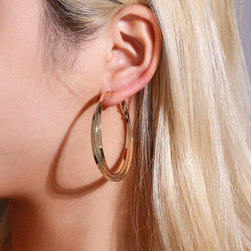 Gioielli semplice geometrica Grande orecchini a cerchio grande cerchio d'oro orecchini per le donne Orecchini Moda cerchi orecchino penetrante Earing 2zTs #