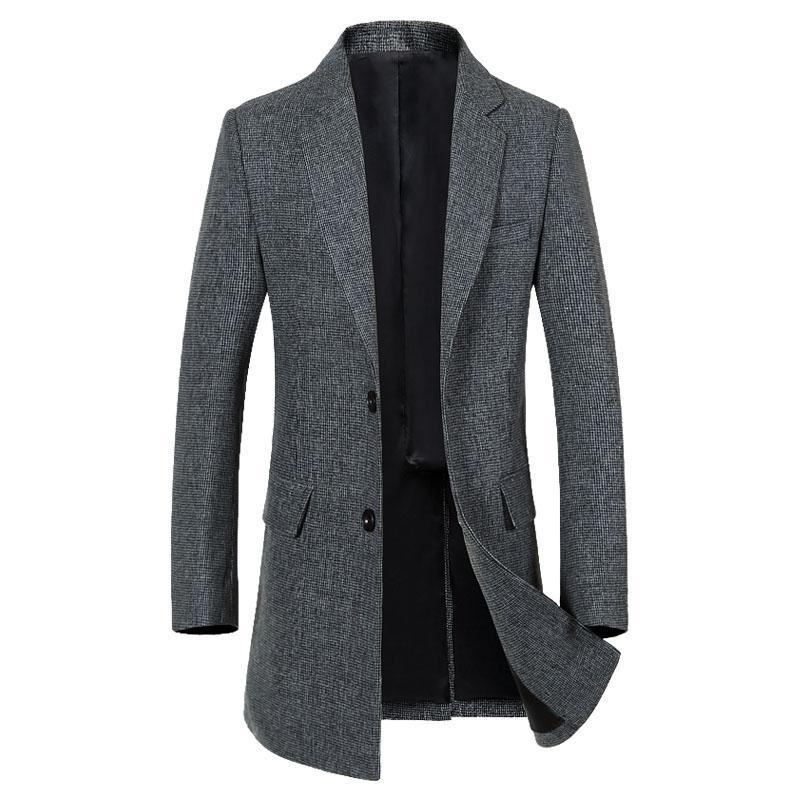 Gray Wool Trench Coat Men 2020 Autumn Winter New Men's Long Trench Coats Slim Fit Single Breasted Cashmere Pea Coat Windbreaker
