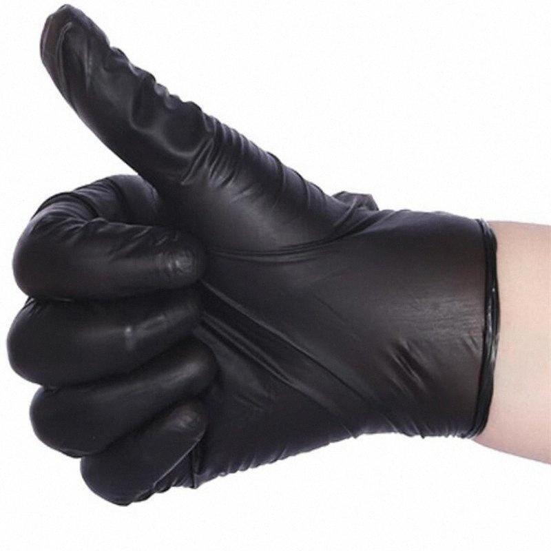 50pcs los guantes de lavar cómodo de goma desechables Guantes de nitrilo Mecánico Negro Guantes para lavar la vajilla para lavar Platos qZ8T #