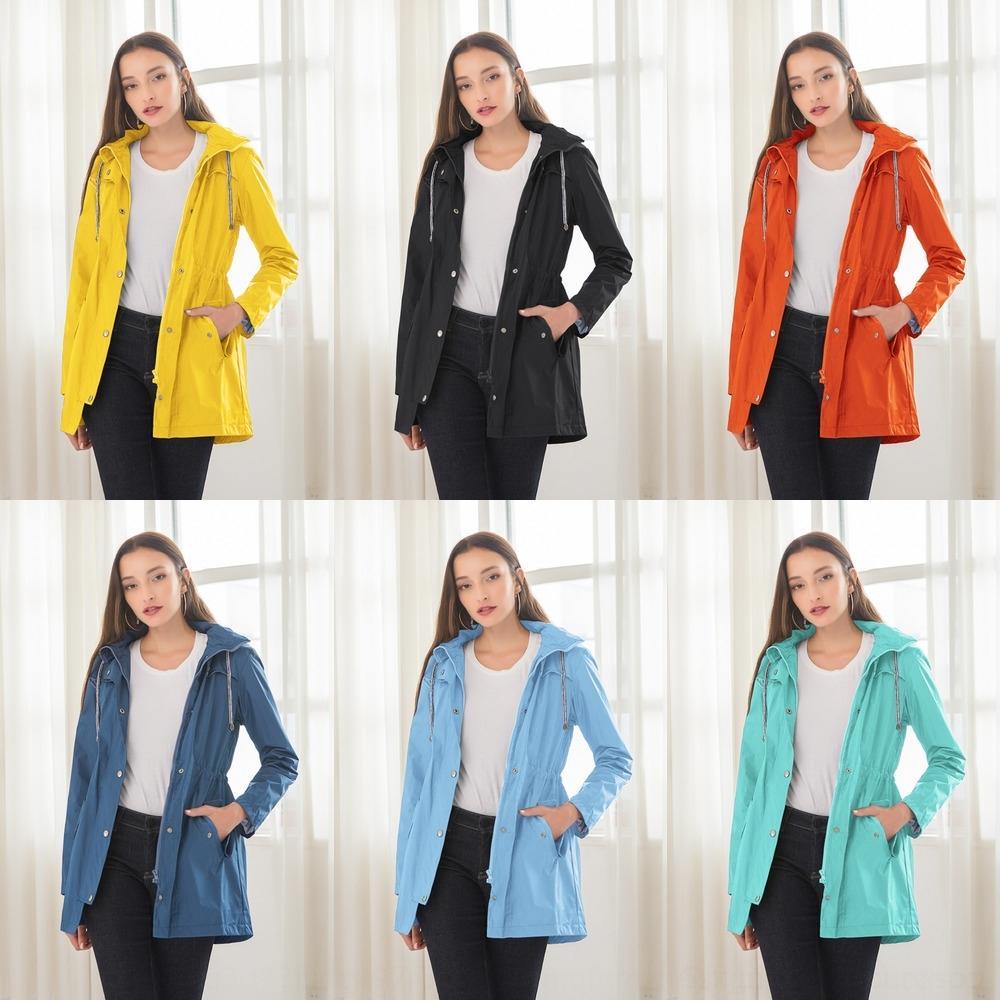 lP2T7 New casual hooded waist windbreaker coat Mid-Autumn Women's windbreaker long raincoat waterproof for women