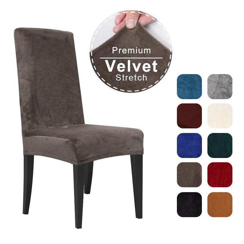 Oda Kapak Stretch Yemek sandalyeleri Büro Düğün için Sandalye Kapak Spandex Elastik Sandalye Slipcover Kılıf Yemek Kadife