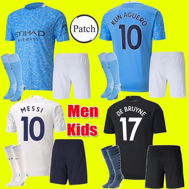الأطفال الكبار كيت 20 21 مانشستر JESUS DE BRUYNE KUN AGUERO مدينة جيرسي لكرة القدم 2020 2021 MAN MESSI MAHREZ كرة القدم الثالثة جيرسي قميص