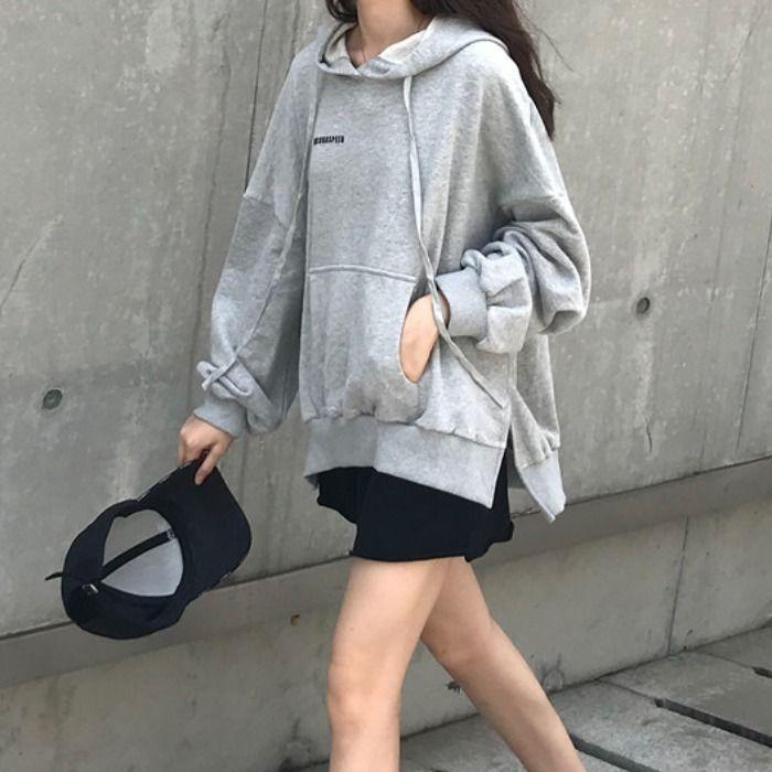 WfbKi uyIJd fina e inverno nova roupas femininas coreano estilo solto hooded Hoodie Top dividir all-jogo camisola Outono estudante col sólida