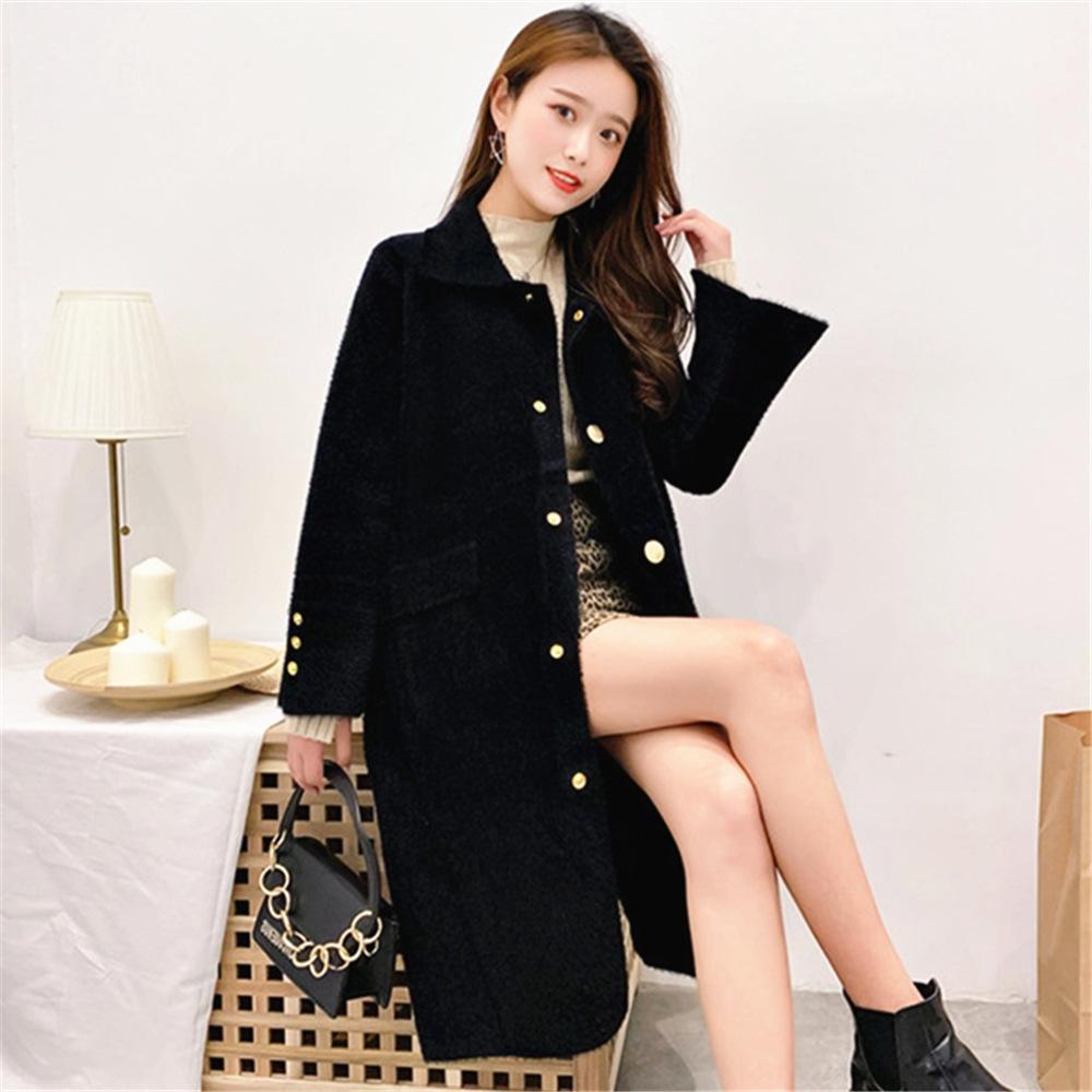 El temperamento de imitación de visón terciopelo abrigo de estilo 2020 otoño y el invierno Nueva Corea mitad de la longitud rebeca de la tapa de las mujeres flojas de las mujeres SWE suéter de la tapa