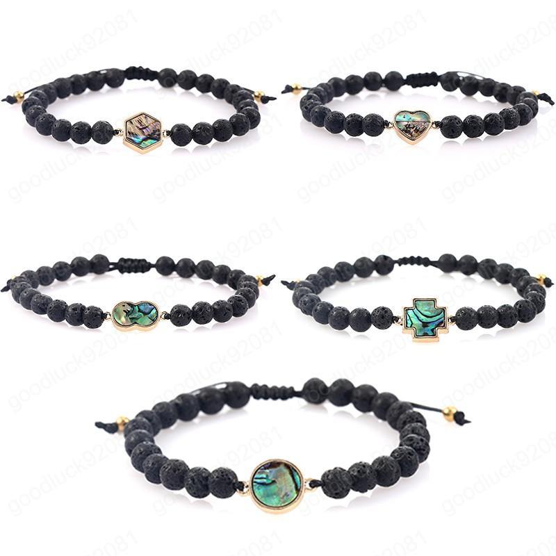 Round Cross Coeur Abalone Shell Charm Bracelet Mode 6 mm Noir Lava Bracelet Pierre Perles femme Homme réglable Bijoux de corde