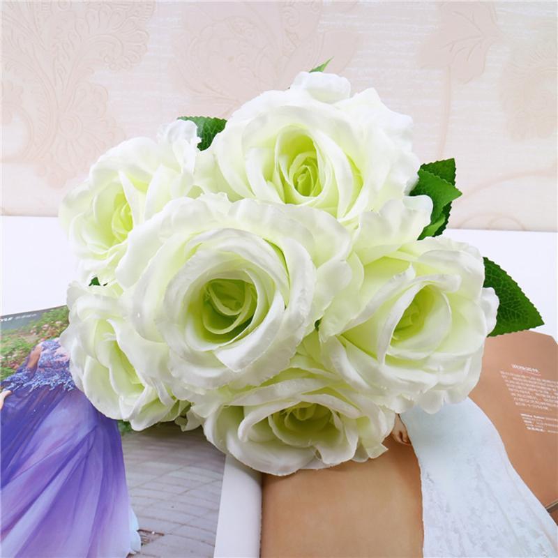 1 ramo artificial de la vendimia oficina de seda rosa florece el ramo de novia con flores Inicio festival de decoración para el regalo de la decoración