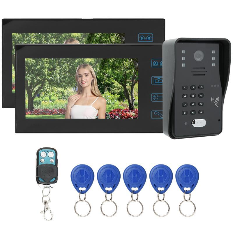 intelligente Campanello di 7inch TFT LCD campanello telecomando password scheda Video telefono del portello 1V2 antipioggia visione notturna Intercom