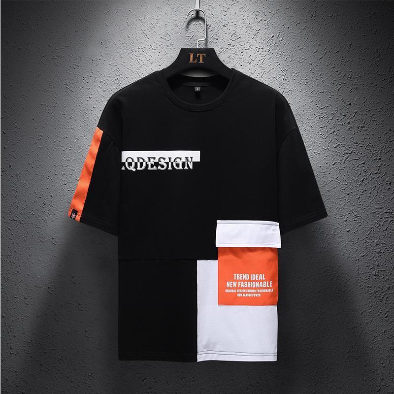 SingleRoad İnsanın Tişört Erkekler 2020 Yaz En Siyah Patchwork Pamuk Hip Hop Harajuku Tişört Punk Japon Streetwear T gömlek erkekler