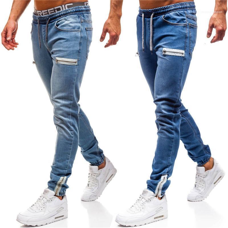 Jeans Mode Hip Hop-Art-Männer dünne Bleistift-Hosen-beiläufige Männer Kleidung Zipper Panelled Herren Designer