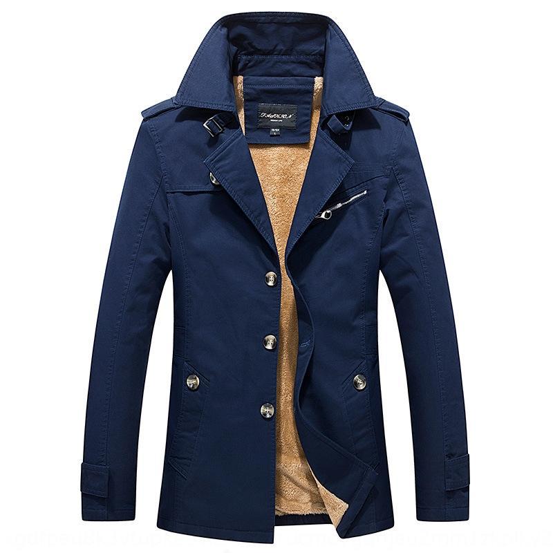 2020 осенью и зимой хлопок тонкого пальто ветровки куртки мужской утолщенной флис отворот средней длина бизнес куртка мужская
