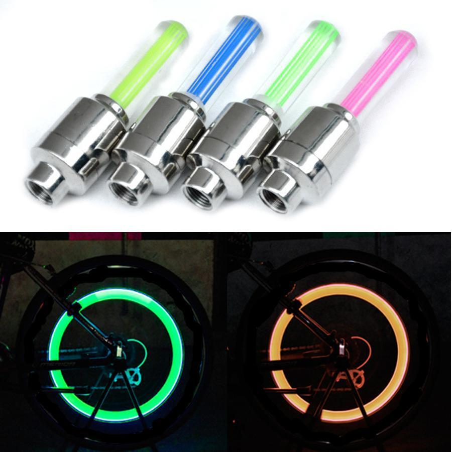 Flash Bike Wheel Tire Neon Lamp Spoke Flys Lights Led Valve Fire Bicycle Decoration Cap hwjh jeIXO