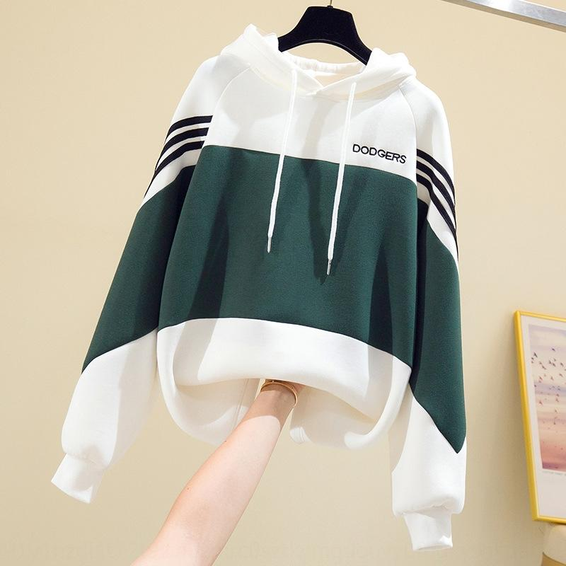 Высокое качество пространства хлопка средней длины талии уменьшающегося утолщенной женщин шить контраст цвета с капюшоном топ Sweatersweater свитер свободный верх
