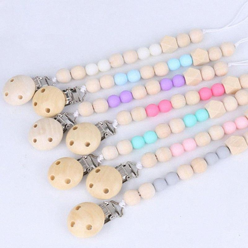 Baby Pacifier Clip Chain Anti-Drop Rope Wooden Bead Dummy Clip Chupetas Soother Chew Pacifier Clips Leash Nipple Holder Teether FuBm#