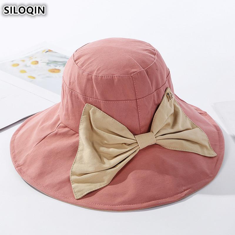 Cap Элегантные дамы SILOQIN Складных для женщин ВС Hat 2020 Летних Нового лук Украшение Большого козырька пляж шляпа Женщина Марка Caps