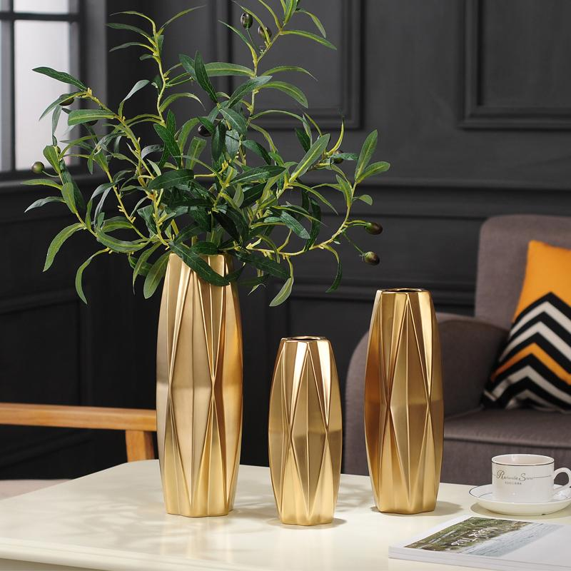 Nordic ceramic vase living room home decoration ornaments European-style plating Matte gold silver ceramic vase wedding decor J