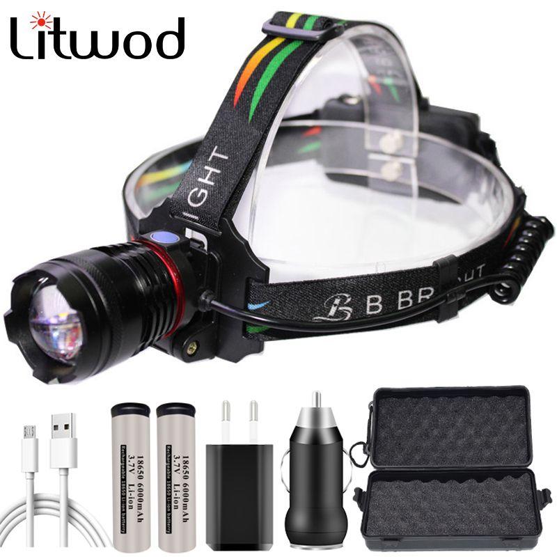 Xhp70 puissante lampe de poche Lampe frontale tête phare 32w 4291lm Ampoules LED 2 * 18650 batterie Zoom avant / arrière au lithium-ion Litwod