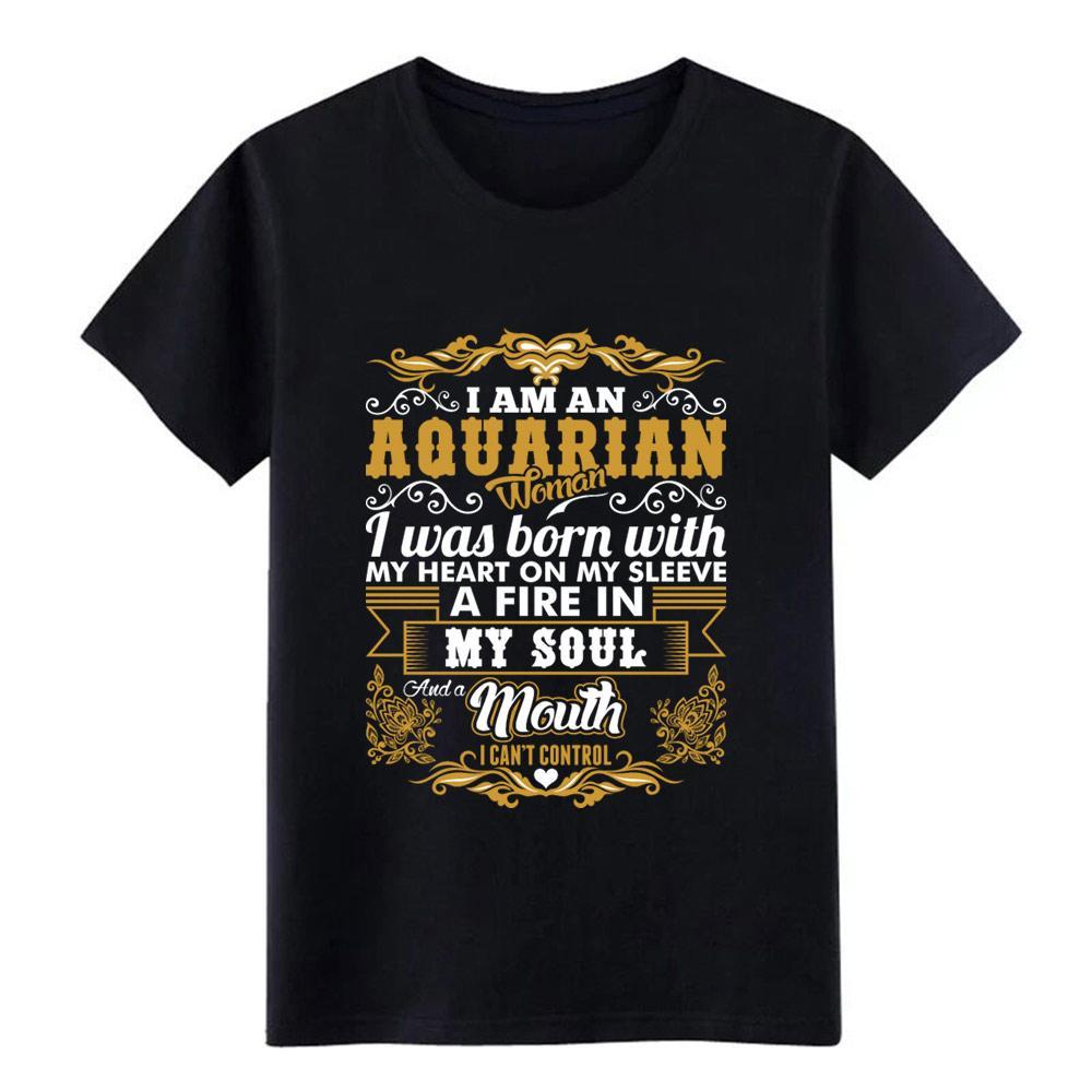 aquarian Frau Herz Hülse Feuer Seele Tierkreis T-Shirt Männer Custom 100% Baumwolle S-XXXL homme loses beiläufiges Standard-Shirt