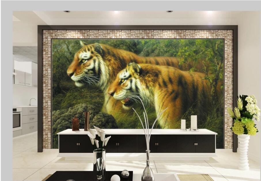 fondo de pantalla 3d mural de fotos personalizados en el aceite de tigre salvaje del bosque pared de la pintura de decoración para el hogar La televisión de fondo papel tapiz de vida para la sala de paredes de 3 d