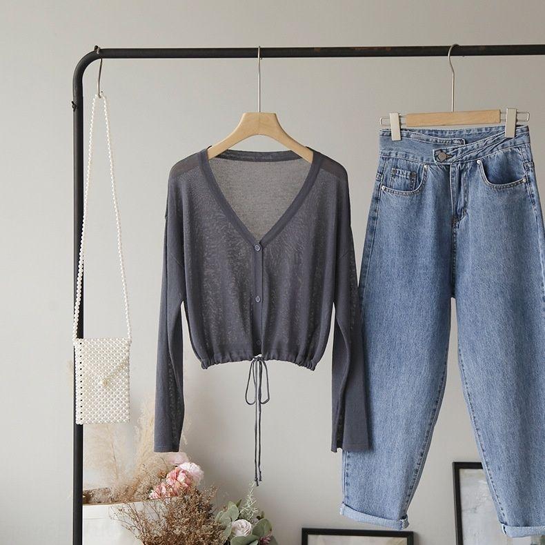 uSNsp camisola estilo top hem V-neck simples estilo coreano cordão solto [Omale] Top Ins 4429 rPoKx