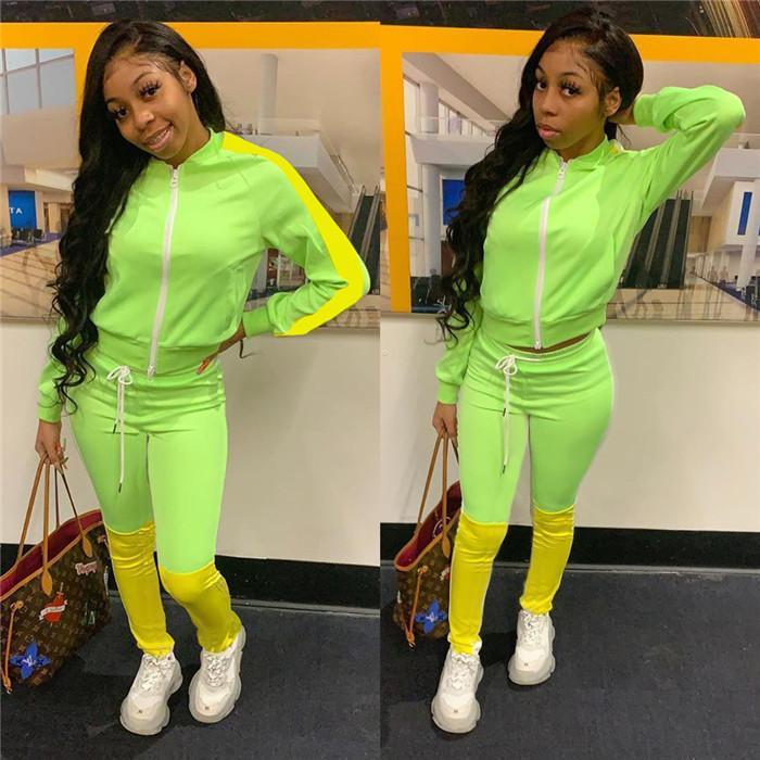 Womens verde fluorescente Patchwork Tute Autunno Inverno 2PCS collare del basamento Zipper Fly Jacket con la matita mutanda Imposta Donna Outfits Sport