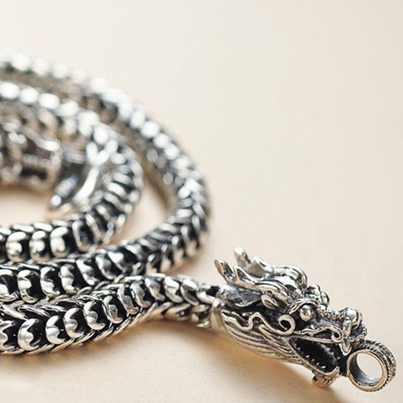 Collar Nueva puro collar de cadena de plata de ley 925 de cabeza de dragón de los hombres