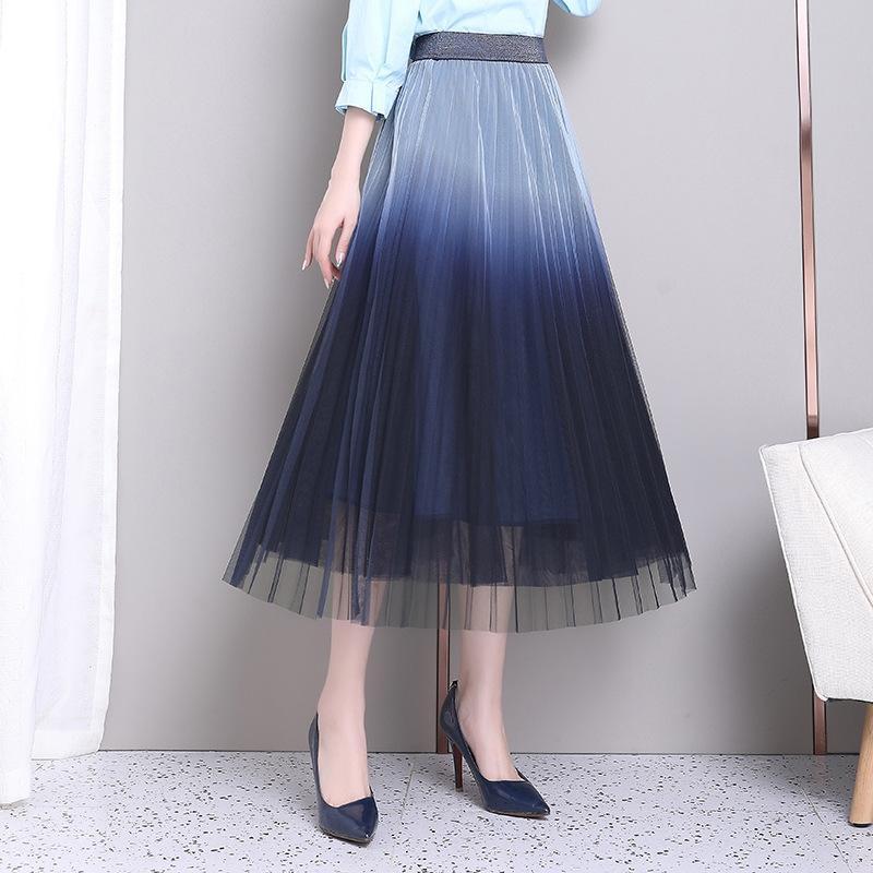 zbf36 ojnwN 2020 высокой похудение сетки юбка корейский стиль Весна талии градиент трехслойная сетка гофрированную юбку