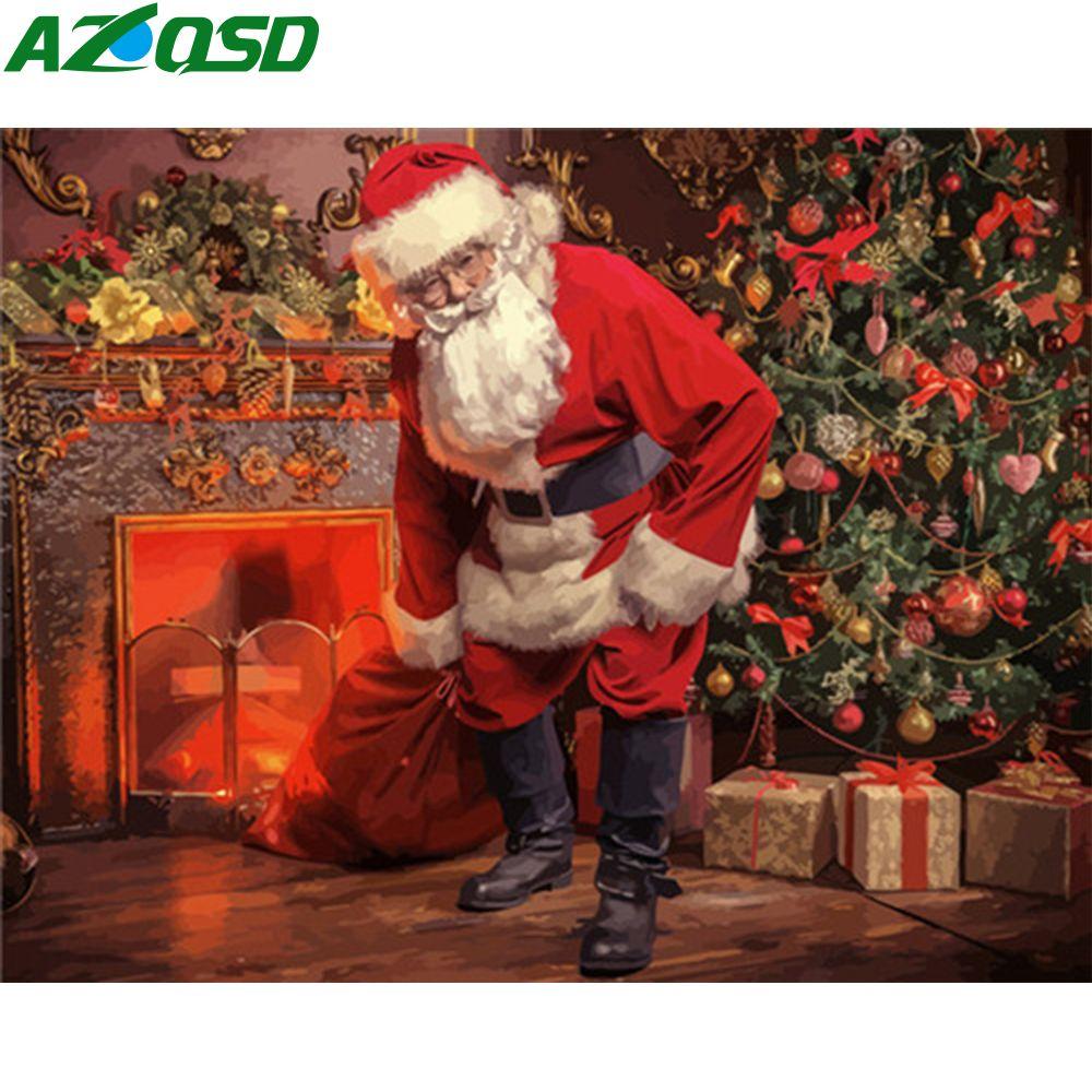 AZQSD UNFRAME DIY картины маслом By Numbers Санта-Клаус Ремесленная Акриловые краски Окрашивание Чисел зимних рождественских подарков Kits