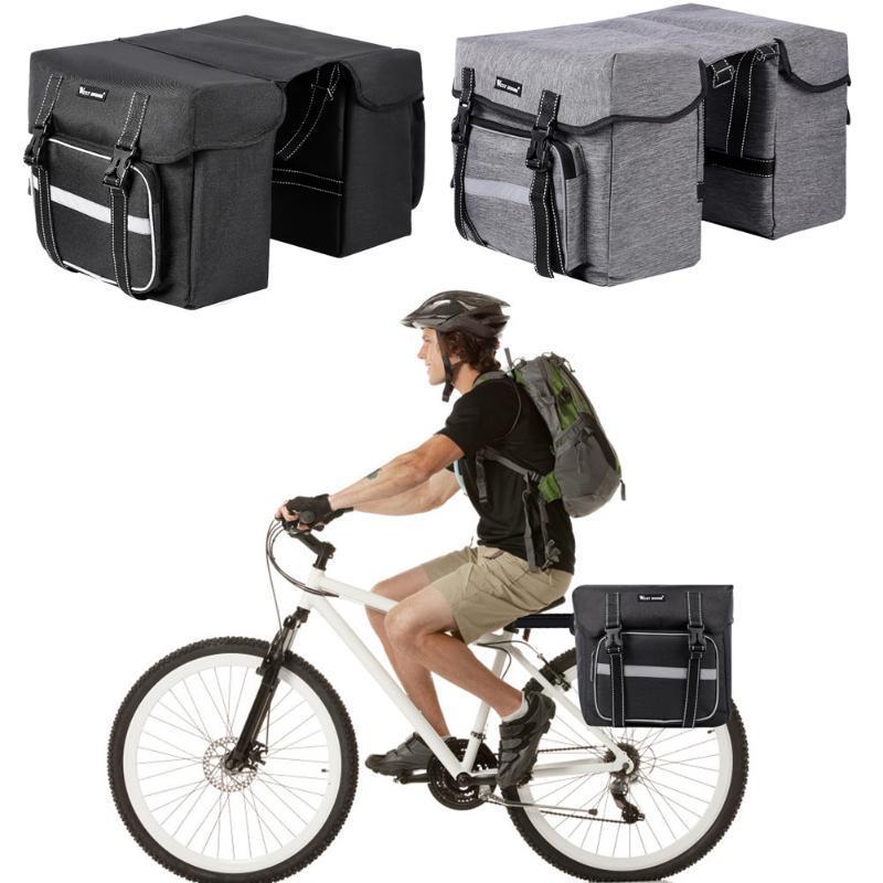 OESTE CICLISMO 28L gran capacidad de bicicletas de las bolsas del doble cara reflectante MTB Parrilla de maletero Pannier Dropshipping