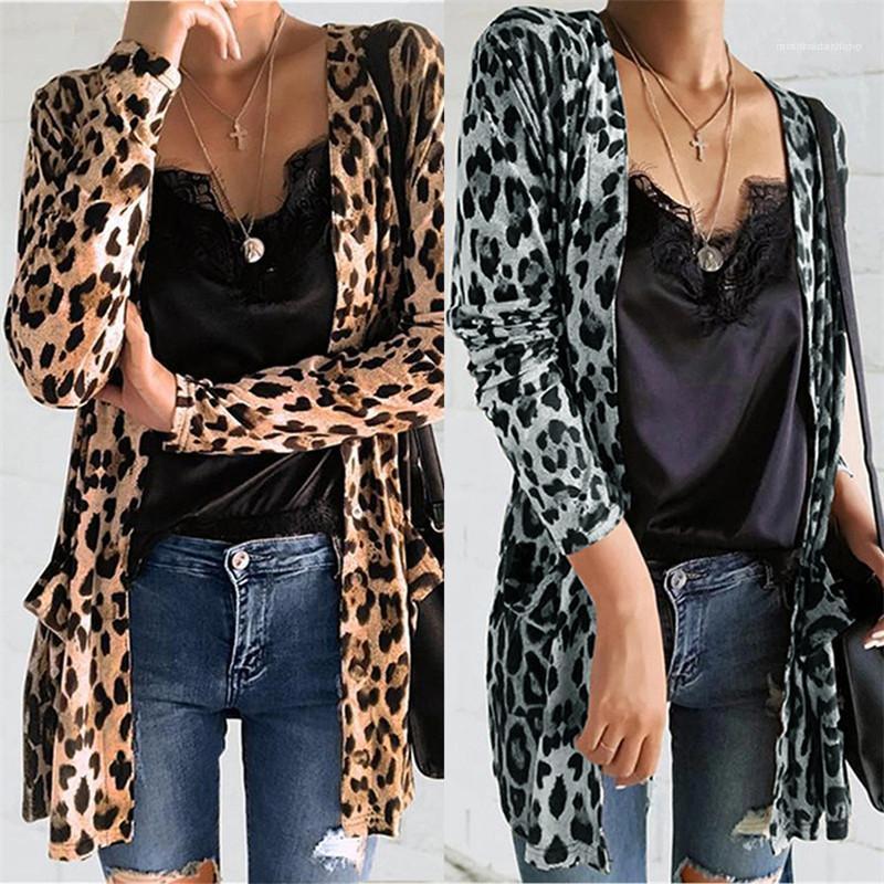 Para mujer leopardo diseño de impresión Coats informal de manga larga con cuello en V Cardigan Abrigos Fahsion color natural Outwear Ropa